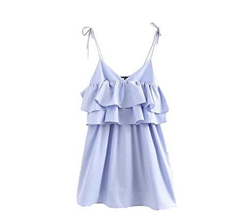 sdk5SIUADT Fashion Women ruffles spaghetti double layers elastic bust solid backless ladies pleated dresses vestidos QZ2927 as picture S