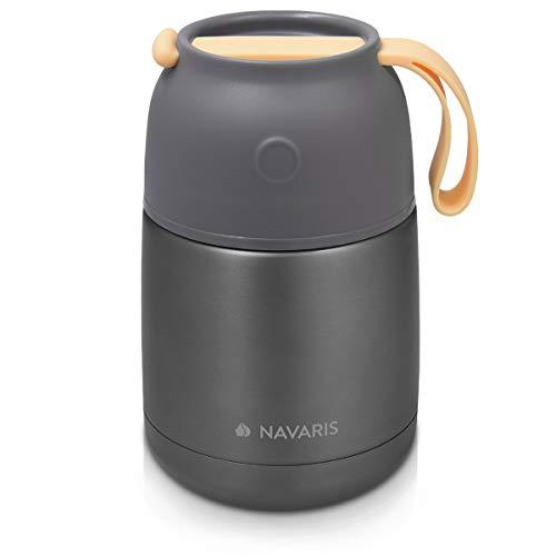 Navaris 450ml Thermobehälter für Essen - Edelstahl Warmhaltebox für Suppe Speisen Babybrei - Thermo Behälter Isolierbehälter auslaufsicher - grau