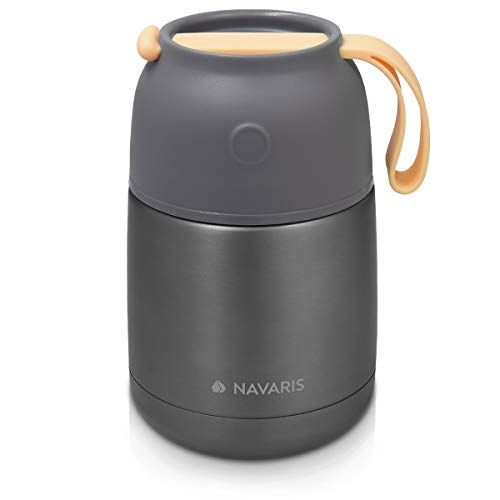 Navaris Termo para Comida - Recipiente para Mantener frío y Caliente - De Acero Inoxidable y con Capacidad para 450 ml - en Gris Oscuro