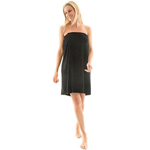 Para mujer Celinatex para sauna forro polar, con cierre de velcro, una bolsa, más fácil de falda escocesa, Málaga, confortable, suave, muy cómodo de usar y cómodo de llevar de toalla, poliéster, negro, large/extra-large