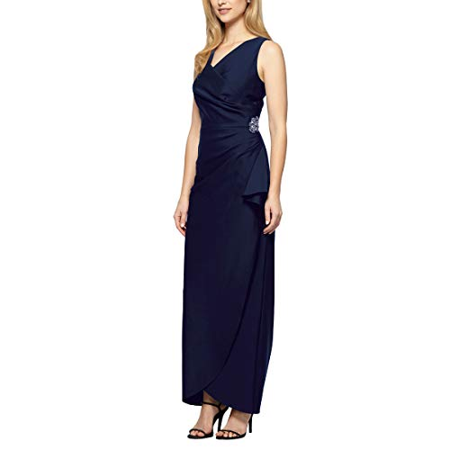 Alex Evenings Women's Slimming Long Side Ruched Dress with Cascade Ruffle Skirt, Navy, 4