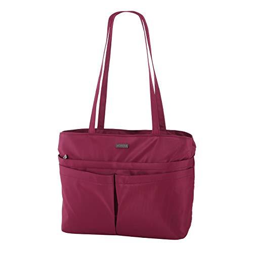 Rada City Shopper Xela 2 Einkaufstasche mit Reißverschluss, Strandtasche/Badetasche für Sommer, Umhängetasche, robustes und wasserabweisendes 600D Polyester, Alltagstasche (rot)