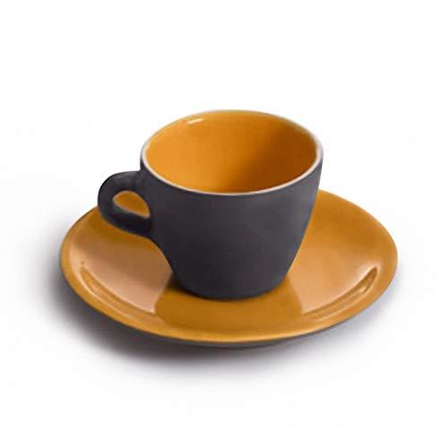 TOPGRES Servizio da caffè di 6 TAZZINE con Piattini in GRES Bicolore Grigio Arancio, 0.07L 8x5(H) cm