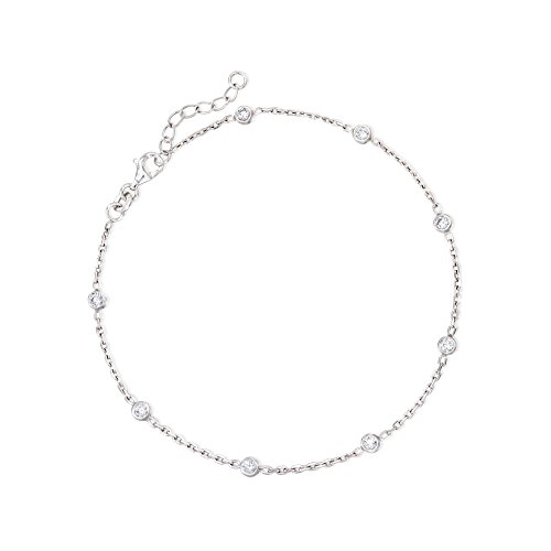Ross-Simons 0.80 ct. t.w. CZ Station Anklet in Sterling Silver For Women 9 Inch 925
