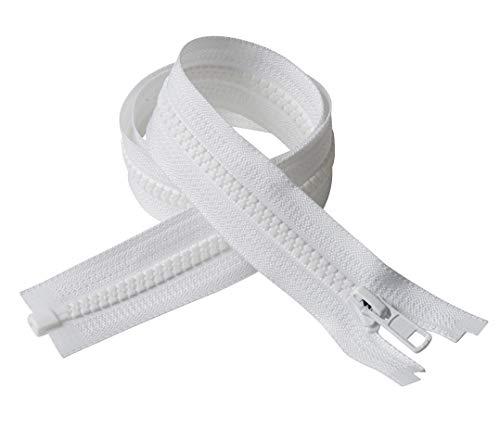 IPEA BSLAM060/01 - Cerniera Lampo misura #5, Cerniere Divisibili, Lunga 60 cm – Larghezza 30 mm, Bianco, 2 Pezzi