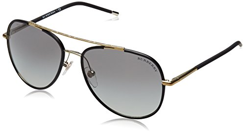 Burberry 0BE3078J 114511 57 Gafas de sol, Negro (Light Gold/Matte Black/Grey Gradient), Hombre