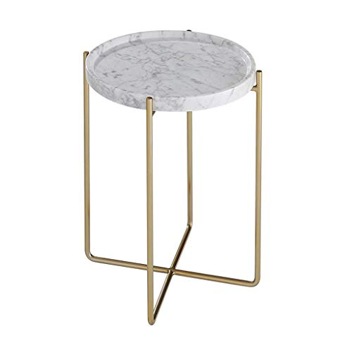 Tables basses, étude de côté de marbre en métal Ronde Petite Simple côté Salon canapé Coin Plusieurs Tables de thé (Color : Blanc, Size : 38 * 52cm)