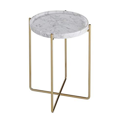 Table basse, étude de côté de marbre en métal ronde petite table basse simple côté table basse salon canapé coin plusieurs tables de thé (Color : Blanc, Size : 38 * 52cm)