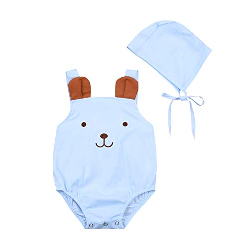 Infants Boys Girls Romper Baby Easter Rabbit Bodysuit Sleeveless Homewear Kids Unisex Clothes + Lace Up Hat (Easter Blue, 6-12 Months)