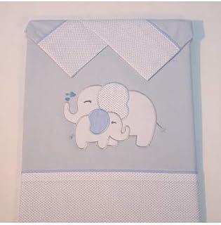 10XDIEZ Juego de sábanas Cuna Elefante Azul - Medidas sabanas bebé - Cuna (60x120cm)