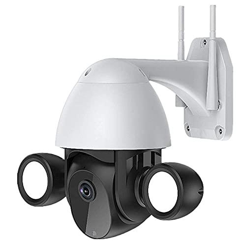 HLSH Cámara IP WiFi, con Luz De Inundación, Cámara De Seguridad Domo PTZ De Velocidad De Seguimiento Automático Al Aire Libre, Vigilancia CCTV De Visión Nocturna con Infrarrojos De 1080P(Color:Negro)