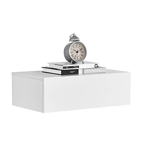 [en.casa]® Mensola da parete con cassetto - Bianco opaco - 46x30x15cm