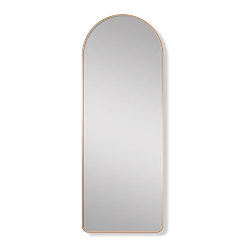 Espejo simple arqueado de cuerpo entero, Espejo de tocador con marco de aleación de aluminio de pie, Espejo de tocador para dormitorio en casa, Espejo de entrada montado en la pared, Dorado / Negro