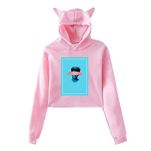 Women's Cat Ear Hoodie Sweater Troye TRXYE Sivan Lumbar Sweatshirt Hooded Black