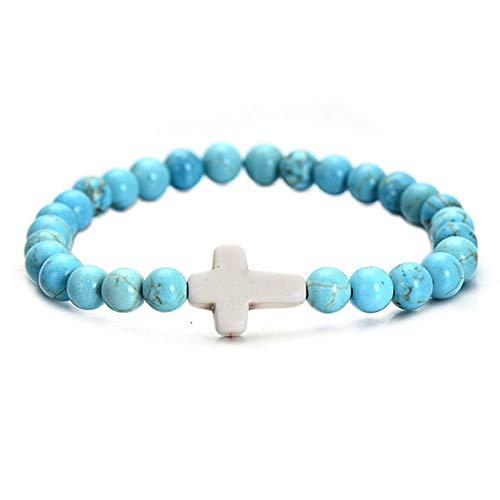 WHFDRHSZ Armband Trendy Stijl Elastische Touw Natuurlijke Kralen Armband Voor Vrouwen Handgemaakte Cross Armbanden Verjaardagscadeau
