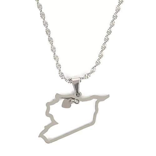 Collar Colgante Collares con colgante de mapa de Siria de Color plateado de acero inoxidable, joyería de cadena de mapa de sirios de moda Navidad Día de la Madre Día de San Valentín cumpleaños regalo