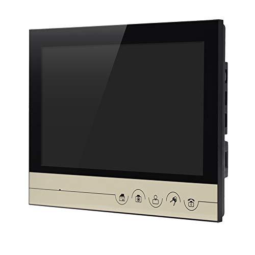 Timbre del teléfono, 100-240V 9 Pulgadas Color LCD Videoportero Teléfono Timbre de la Puerta Cámara de visión Nocturna Intercomunicador para el hogar Villa(B-Oro)