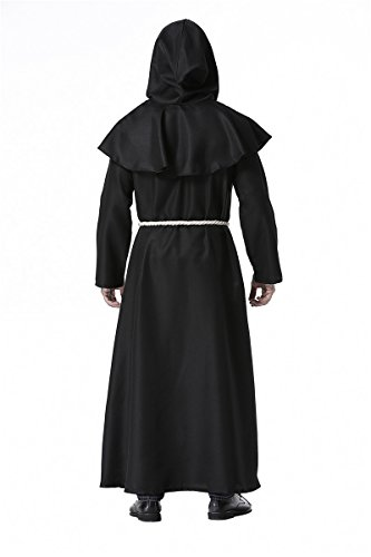 dream cosplay Friar Robe Medieval Renaissance Cowl Hooded Monk Costume (XX-Large) Black
