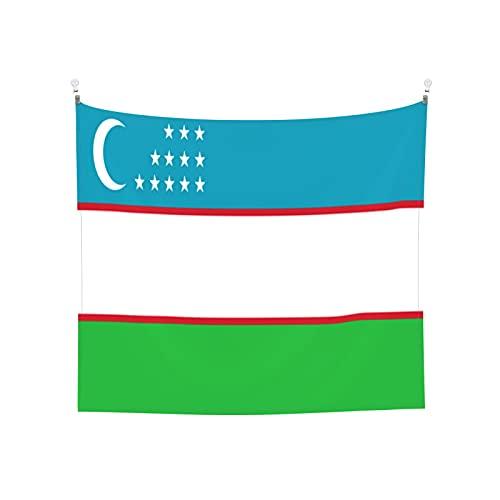 Wandteppich, Motiv: Flagge von Usbekistan, Wandbehang, Boho, beliebt, mystisch, Trippy, Yoga, Hippie, Wandteppiche für Wohnzimmer, Schlafzimmer, Wohnheim, Heimdekoration, Schwarz & Weiß