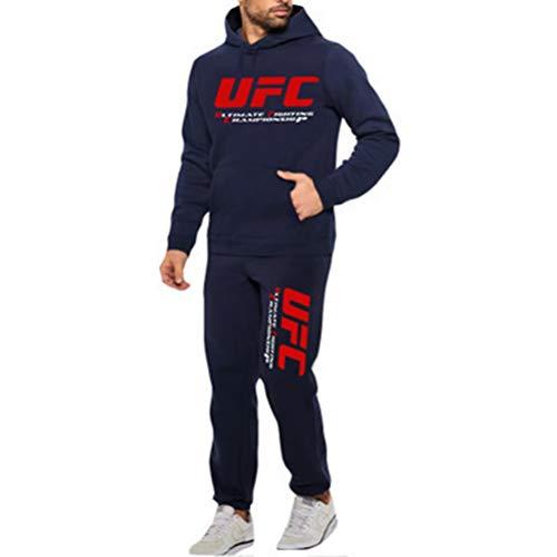 Sudadera con Capucha Impresa Traje De Ropa Deportiva Azul, Sudadera con Capucha Y Pantalones Al Aire Libre Impresos UFC, Un Regalo para Los Fanáticos Combatientes Mixtos, 2 Estilos