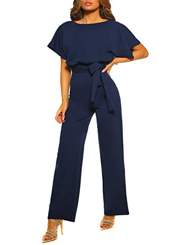 Happy Sailed Women Casual Loose Short Sleeve Belted Wide Leg Pant Romper Jumpsuits Medium Navy Blue