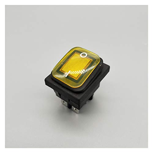DONGMAISM Interruptor basculante KCD4 20A / 250V 4 Pin DPST IP67 Interruptor de rockero Impermeable Sellado con LED 12V 24V 110V 220V 30x22 (Color : Yellow, Size : 6 Pin)