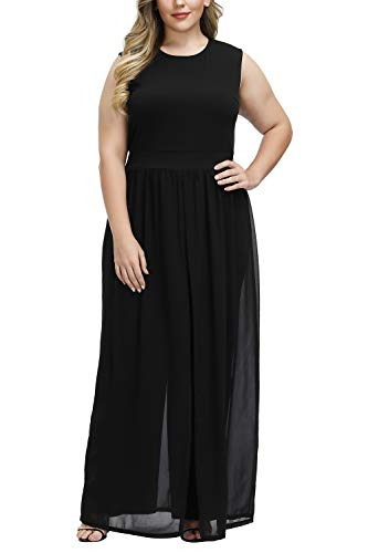 Pink Queen Women's Fashion Crewneck Black Chiffon Overlay Jumpsuit XL Black