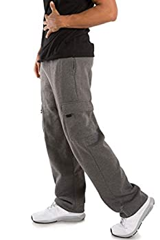 VIBES Men s Fleece Cargo Sweatpants Relax Fit Bungee Cord Open Bottom Size 2XL Charcoal