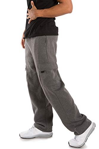 Vibes Men's Fleece Cargo Sweatpants Relax Fit Bungee Cord Open Bottom Size L Charcoal