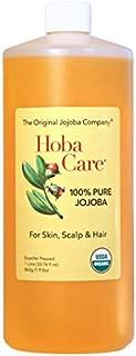 The Jojoba Company Organic HobaCare Jojoba 34oz (1 Liter) - Pure Organic Jojoba for Face and Skin - Essential Jojoba
