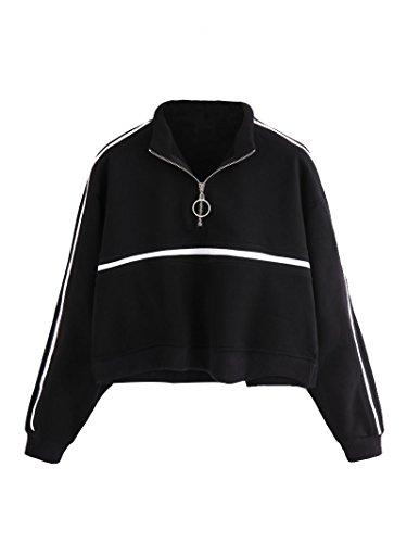 ROMWE Women's Zip Front High Neck Tape Striped Detail Crop Sweatshirt Black S