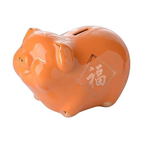 WYH Decoración Hucha Azul niños Dinero Banco Lindo Cerdo Adulto Regalos ahorros Dinero decoración de Escritorio para niños Puede retirar Dinero Hucha Caja Fuerte (Color : Orange)