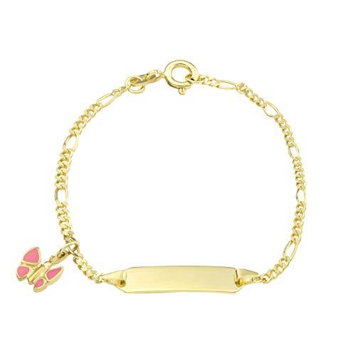 Pulsera de amor con mariposa de oro 375