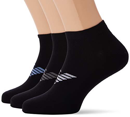 Emporio Armani Underwear Herren IN Shoe Inside Multipack Socken, Schwarz (Nero/Nero/Nero 21320), 44/45 (Herstellergröße: L)