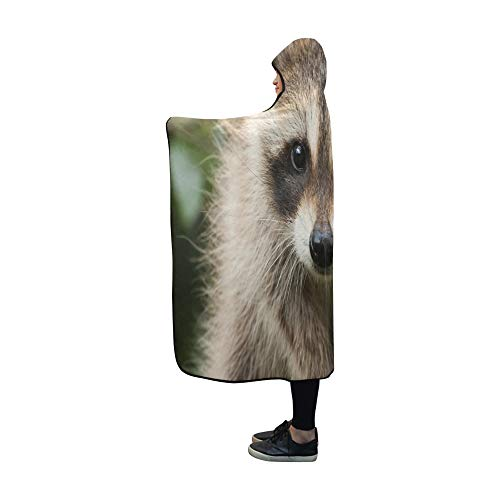 YXUAOQ Mit Kapuze Decke Waschbär Babydecke 60 x 50 Zoll Comfotable Hooded Throw Wrap