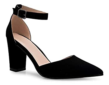 Olivia K Women s Sexy D Orsay Ankle Strap Pointed Toe Block Heel Pump - Classic Comfortable