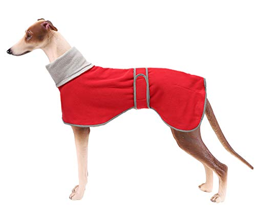 Morezi - Abrigos de perro con barra reflectante, forro polar de poliéster suave - Abrigo de invierno con banda ajustable - Chaqueta para galgos, perros de caza y galgos ingleses