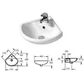 appesa alla parete ad angolo in ceramica lavandino lavabo 1TAP foro 46/cmx24/cm