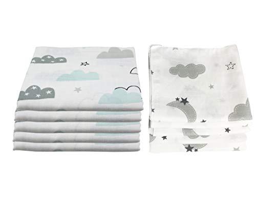 10x Spucktücher Mullwindeln Baby Baumwolle 80x70 cm   ÖKO-TEX (Wolken (5 grau, 5 mint))