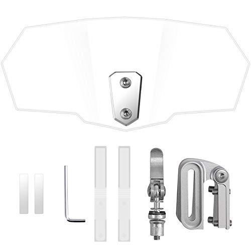 Justech Parebrisas Universal para Motocicleta Transparente Deflector de Viento Clip Ajustable en la Extensión de Parabrisas Alerón para Moto