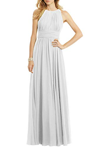 Bridesmaid Maxi Dresses Long for Women Formal Evening Party Prom Gown White US18W