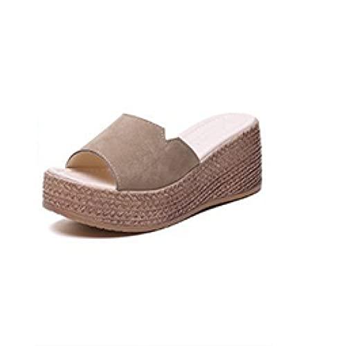 Sandalias de cuña para mujer de ante de moda de playa con puntera abierta y plataforma de tacón alto para verano, Khaki, 38.5 EU