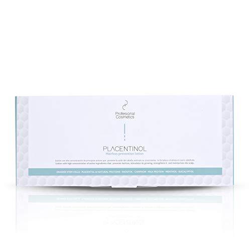Profesional Cosmetics Placentinol loción prevención caída. Tratamiento crecepelos - 12 ampollas de 10 ml - 120 ml.