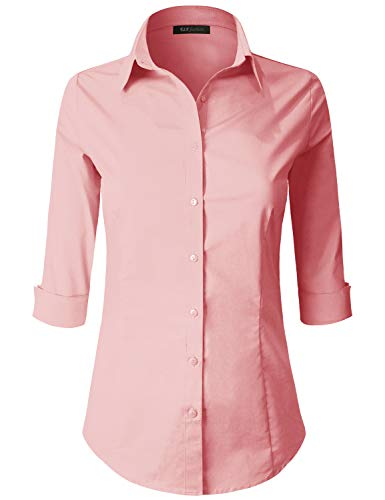 ELF FASHION 3/4 Sleeve Stretchy Button Down Collar Office Formal Casual Shirt Blouse for Women (Size S~6XL) LIGHTMAUVE L