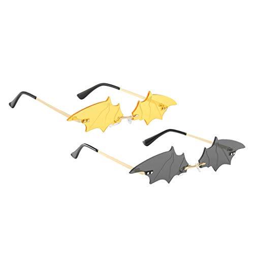 chiwanji 2pcs Mujeres Chic Bat Wing Gafas de Sol Shades Rave Club Gafas de Sol Gafas - Gris + Amarillo