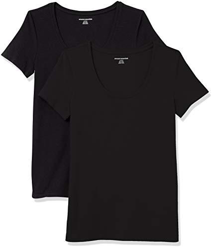 Amazon Essentials Paquete de 2 Camisetas de Manga Corta con Cuello Redondo. Fashion-t-Shirts, Negro/Negro, M, Pack de 2