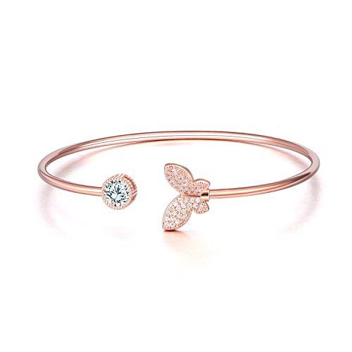 WINNICACA Rose Gold Schmetterling Verstellbarer Armreif Geschenke für Frauen Mädchen