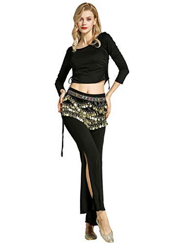 Zengbang Damen Hosen Bauchtanz Kostüm Halloween Bauchtanz Crop Top Training Tanzkleidung (Schwarz#2(2PCS), Asien M)