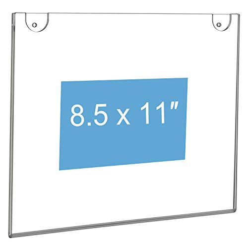 NIUBEE 10-Packs 8.5x11 Sign Holder Horizontal for Wall Door, Clear Acrylic Picture Frame for Paper with Free 3M Tape and Mounting Screws