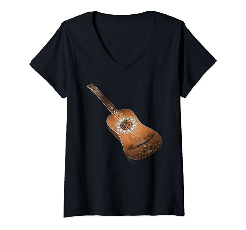 Mujer Guitarra acústica de seis cuerdas Classic Rock & Roll diseño Camiseta Cuello V